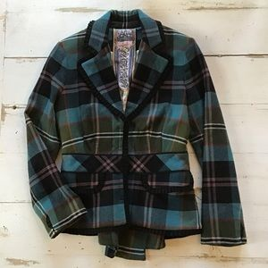 L.A.M.B. Macarthur Pleated Plaid Blazer